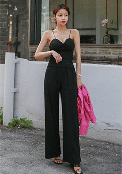 Ribbed Cami And Wide Leg Pants Set
