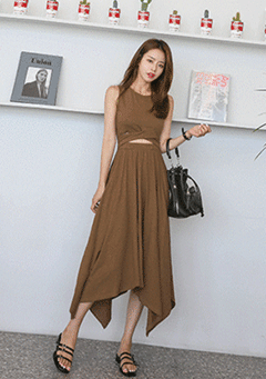 Cutout Waist Asymmetrical Hem Sleeveless Dress