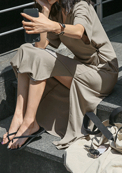 V-Neck Slit T-Shirt Dress