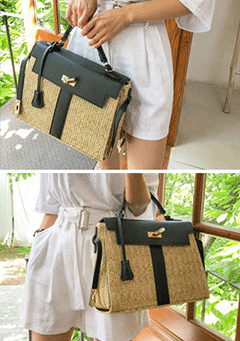 Contrast Color Straw Bag