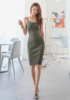 Tie-Neck Ribbed Dress