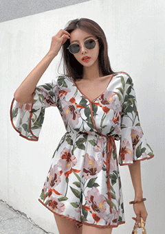 Bow Floral Romper