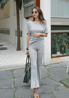 Off Shoulder Top And Slacks Set