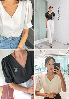Wobbly Puffed Shoulder Blouse