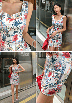 Slim Fit Floral Print Sleeveless Dress