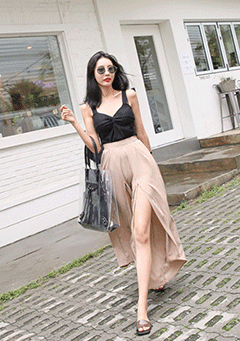 Semi Elastic Waistband Slit Pants