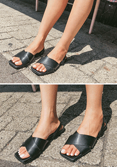 Square Toe Elastic Band Sandals