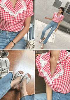 Alps Lace Embellished Check Blouse