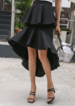 Semi Elastic Waistband Asymmetrical Hem Tiered Skirt