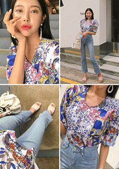Faux Pearl Button Floral Blouse