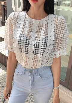 Circle Lace Sheer Blouse