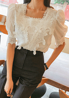 Look At Me Square Neck Lace Blouse