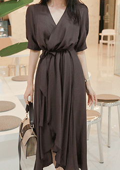 Feminine V-Neck Wrap Dress