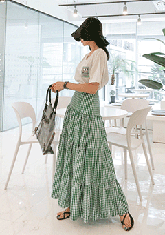 Tiered Flare Check Skirt