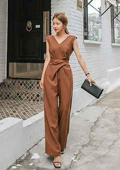 V-Neck Twist Jumpsuit