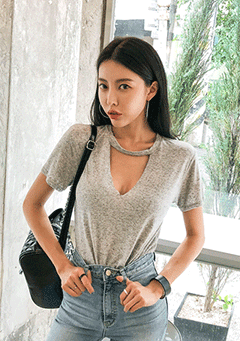 Cutout Neck Short Sleeve T-Shirt