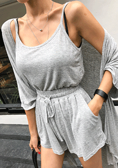 Cardigan Sleeveless Top And Shorts Set