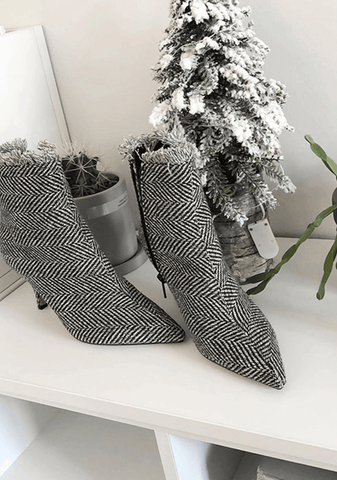 Pattern Zipper Ankle Boots