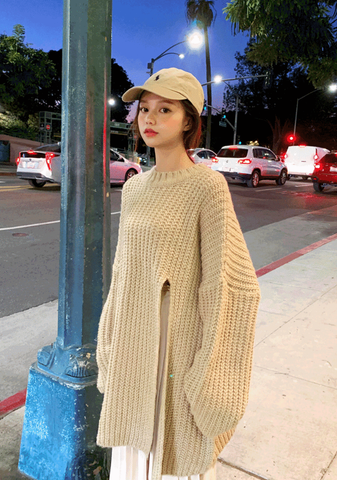 Almond Milk Side Silt Knit Sweater