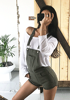 Slim Dungaree Short Pants