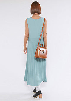 V Neck Pleats Long Dress