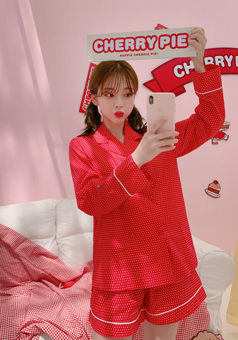 Cherry Pie. Leegong Red Sugar Pajamas Set