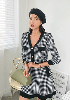 Alora Checked Cardigan And Skirt