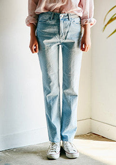 Semi High-Waisted Roll Up Jeans