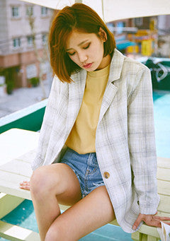 Retro Check Linen Jacket