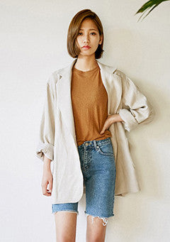 Natural Overfit Linen Jacket