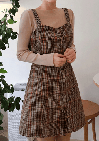 Check Strap Pinafore Dress