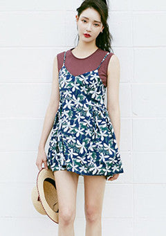 Flower Pattern Bustier Dress