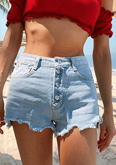 Four Buttons High Waisted Shorts