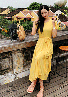 Walking On Sunshine Draped Dress