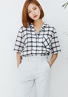 Notched Collar Check Shirt