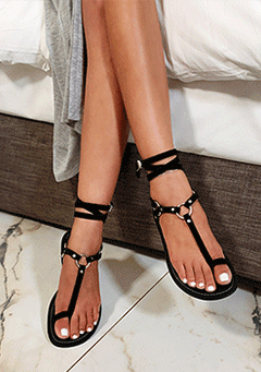 Early Night Gladiator Pep Toe Sandals
