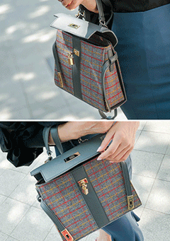 Plaid Shoulder Satchel Bag