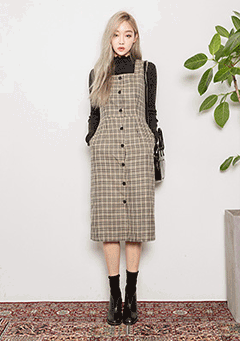 Emma Button Check Midi Dress
