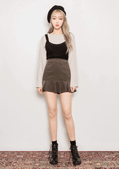 Coco Frill Corduroy Mini Skirt
