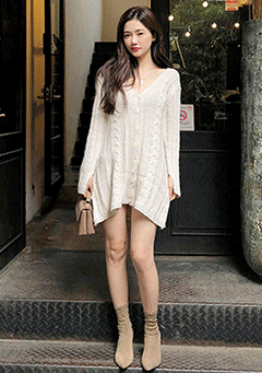 Autumn V-Neck Knit Cardigan Dress