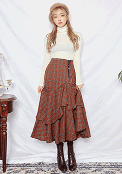 Ring Unbalanced Double Frill Maxi Skirt