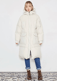 100% Real Duck Down Long Padded Jacket
