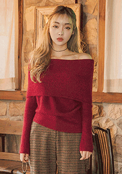 Off Shoulder Fold Angora Knit