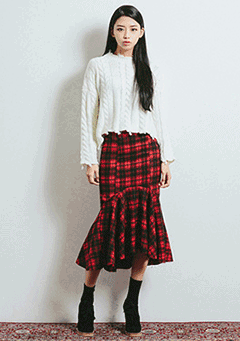 Flowy Front Check Midi Skirt