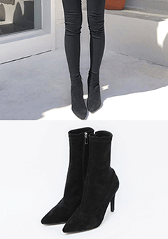 Pointed Toe Heeled Socks Boot