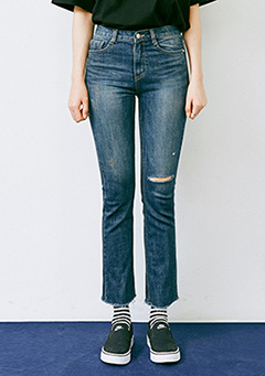 Raw Hem Distressed Torn Knee Straight Jeans