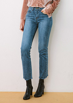 Clam Hem Washed Straight Jeans