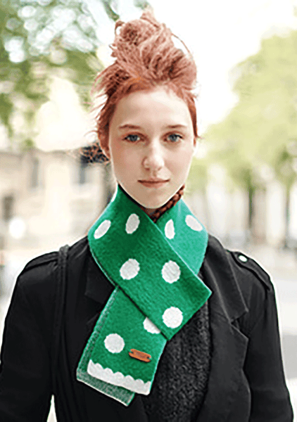 Wool Scarf - Dancing Dot (Green)