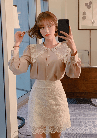Flower Lace Trimming Mini Skirt