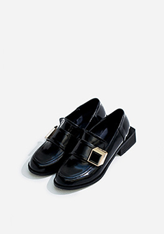 Thick Buckle Square Heel Loafers